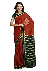 Kaushika Sarees Pure Crepe Traditional Mysore Silk Saree (KC2302_RUST_BOTTLEGREEN)