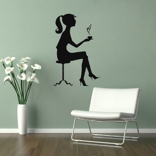 Housewares Vinyl Decal People Girl Drinking Coffee On A Chair Cafe Kitchen Home Wall Art Decor Removable Stylish Sticker Mural Unique Design For Any Room