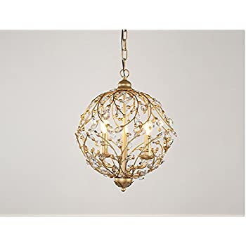 Garwarm Vintage Chandelier 3 lights Antique Pendant light Home Ceiling Light Fixtures Chandeliers Lighting,Golden