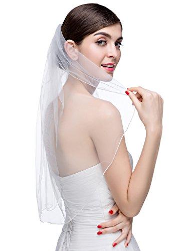 VERNASSA Fashion One Layer Short Tulle Bridal Veil with Comb Wedding Veils