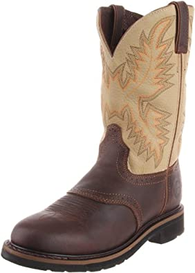 """Justin Original Work Boots Men's Stampede Collection 11"""" Boot Stampede Round Toe,Waxy Brown with Perfed Saddle Vamp/Sawdust,6 D US"""