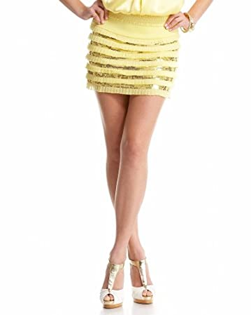 bebe.com Pleated Sequin Tiered Skirt