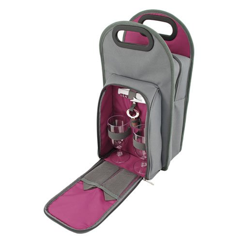 True Fabrications Bestselling Metropolitan 2 Bottle Wine Tote Perfect For A Picnic For 2 Includes 2 Wine Glasses, 2 Napkins, 1 Corkscrew & 1 Bottle Topper - Gray front-447057