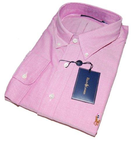 Polo Ralph Lauren Mens Oxford Cotton Dress Shirt Pink Pony Horse 18/46