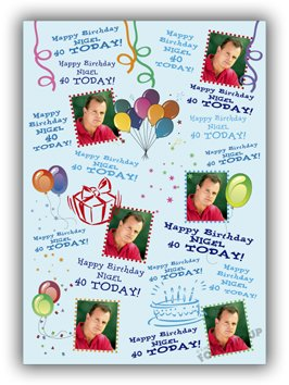 Personalised Birthday Gift Wrapping Paper with Your Images & Details - 420mm x 300mm - 16 1/2