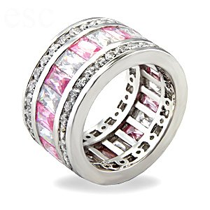 Jewelry - Pink CZ Sterling Silver Eternity Ring SZ 5