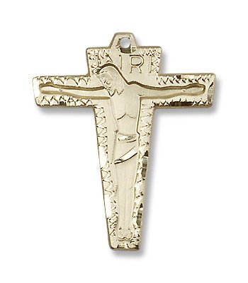 Gold Filled Primative Crucifix Medal Pendant Charm with 18