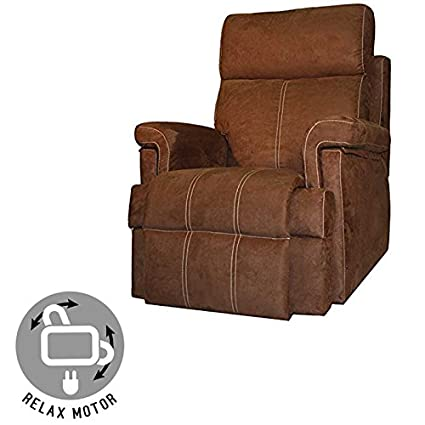 MAXIMO CONFORT SILLON RELAX CON APERTURA ELECTRICA - COLOR CHOCOLATE CON COSTURA BEIGE