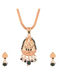 Ganapathy Gems Gold Plated Lakshmi Design Pandent With Green Stones And Pearls And Chain