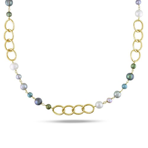 Multi-colored FW Pearl Oval Link Necklace (6-10 mm)