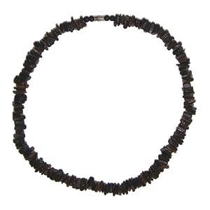 "Hawaiian Jewelry 18"" Puka Shell Necklace Dark Chips Surfer Beach Choker"