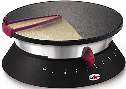 Crêpière Diabolo Ø 33 cm-1250 W-Revêtement anti-adhésif-Etaleur de pâte-Rouge - KRAMPOUZ