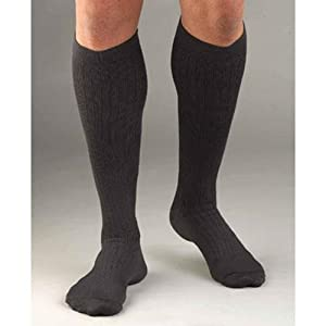 Activa Men's Microfiber Pinstripe Dress Socks 20-30 mmHg Large Gray