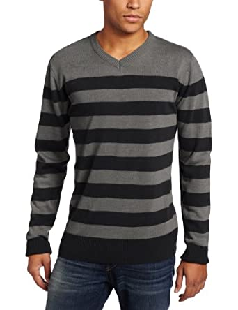 Southpole Men's Striped Pull Over Long Sleeve Sweater, Black, Large