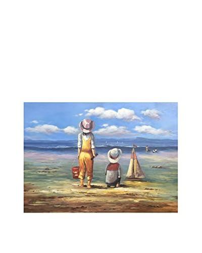 Legendarte Ölgemälde auf Leinwand Bambini Che Giocano In Spiaggia
