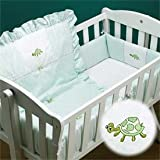 Green Turtle Applique Cradle Bedding - Size