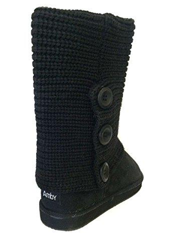 amby womens rib knit sweater boots 10 black 91006
