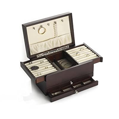 Amazon.com - Wallace Dark Walnut Expandable Compartment Jewelry Box - Earring Organizer