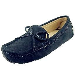 DADAWEN Girl\'s Boy\'s Suede Slip-on Loafers Oxford Shoes Black US Size 11 M Little Kid