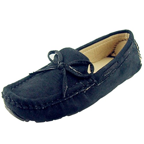 DADAWEN Girl's Boy's Suede Slip-on Loafers Oxford Shoes Blac