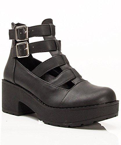 Breckelle Teela-01/Qupid Selfie-01 Stacked Heel Leatherette Ankle Bootie Gladiator Sandals Black (7) front-11047
