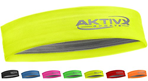 AKTIVX SPORTS Fitness Headband, Sports Headbands for Women, Fashion Headband, Running Headband, Women Headband, Men Headband, Yoga Exercise Headband - Neon Yellow