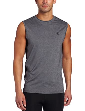 Champion Men's Double Dry Fitted Muscle Tee, Slate Gray Heather/Black, XX-Large