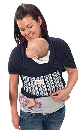 Maman Kangourou Amerigo Stretchy Wrap Baby Carrier, Navy Blue
