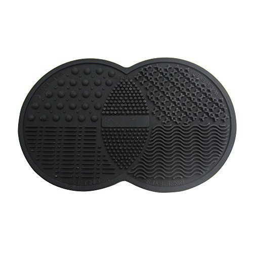 Happy Hours - Mini Double Round Silicone Gel Makeup Brush Cleaner Pad / Cosmetic Brushes Washing Scrubber Board Cleaning Mat Tool with Suction Cup Function for Homeuse and Travel(Black)