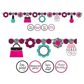Pink Zebra Boutique Circle Ribbon Banner, w/ Stickers