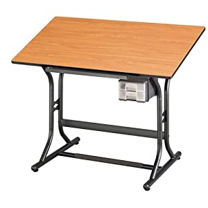 CraftMaster Junior Drafting Table Cherry Woodgrain Top/Black Base