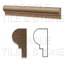 Noce Travertine Honed 2 X 12 OG-1 Chair Rail Liner Trim