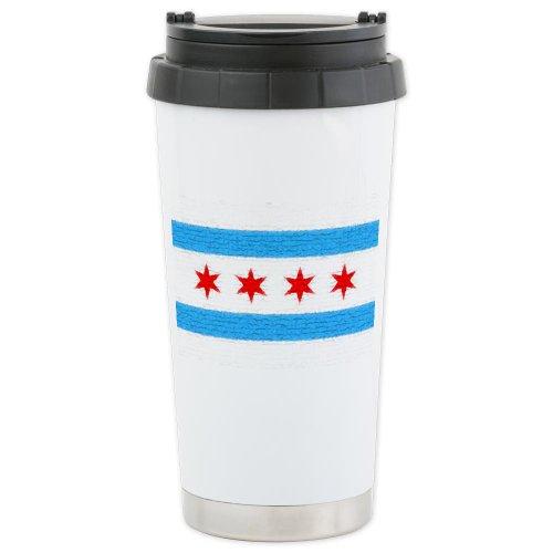 Cafepress Chicago Flag Ceramic Travel Mug - Standard Multi-Color