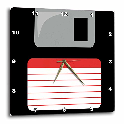 3dRose dpp_57457_1 Retro 90's Black Floppy Disk Graphic Design with Red Label 1990's Computer Tech Wall Clock, 10 by 10-Inch
