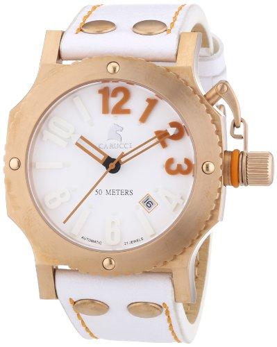 Carucci Watches  Potenza II - Reloj de automático unisex, con correa de cuero, color blanco