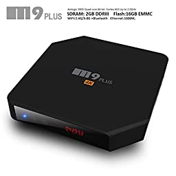 iNepo Android Smart Box M9 Plus TV Box Amlogic S905 2GB 16GB with Kodi and Dual WiFi 2.4GHz 5GHz Bluetooth 4.0 Support HDMI 2.0 4k2k 60fps LED display Streaming Media Player (Black)
