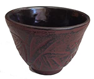 Cast Iron Tea Cup -Burgundy Red bamboo by Kafuh