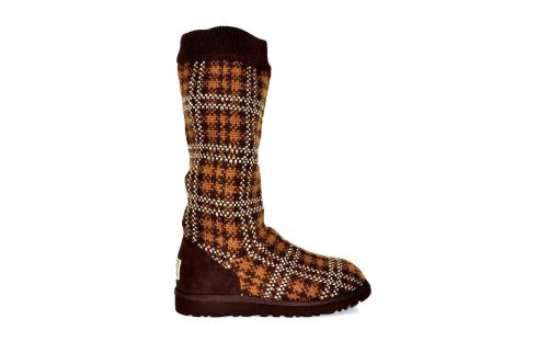 Ugg Kids Plaid Knit Style Boots- Chocolate Size