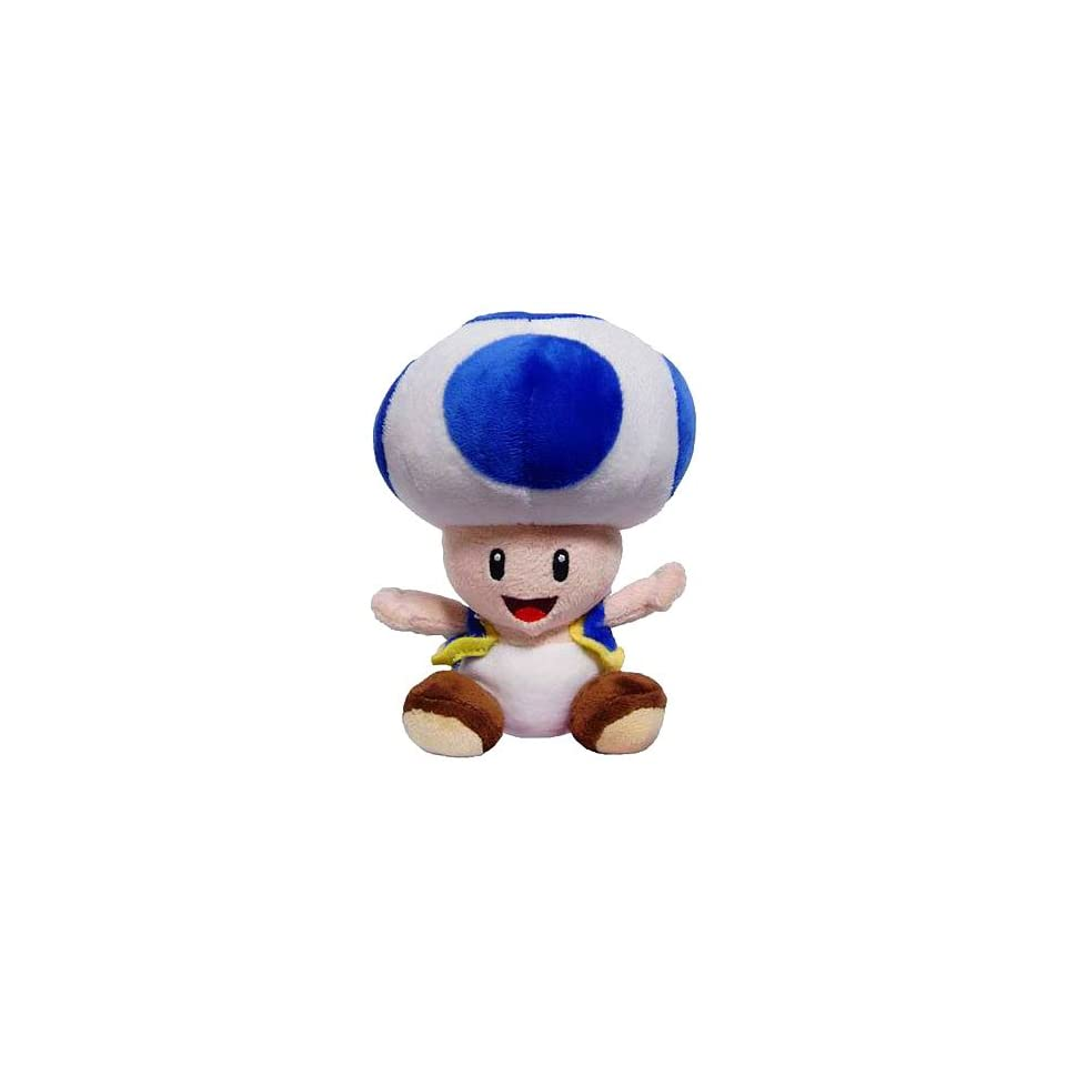 New Super Mario Bros. Wii 6 Inch Plush Blue Toad Toys