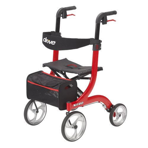 Drive Medical Nitro Euro Style Red Rollator Walker,