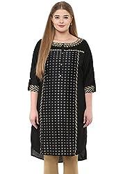 Alto Moda by Pantaloons Women's Straight Kurta (205000005659263, Black, XX-Large)