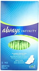Always Infinity Unscented Pads with Wings, Heavy Flow, 32 Count (Pack of 2)