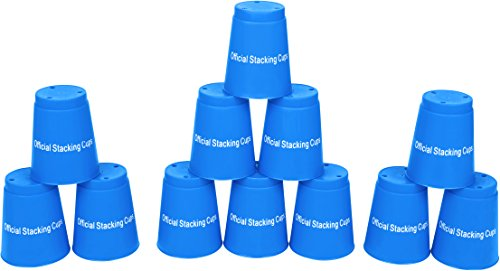 Quick Stack Cups - Set of 12 Sport Stacking Cups - By Trademark Innovations (Blue) - 1