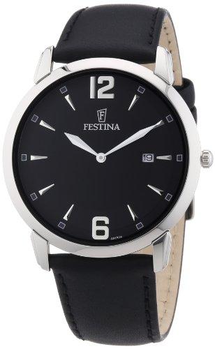 Festina F6813/6 - Reloj analógico de cuarzo para hombre con correa de piel, color negro