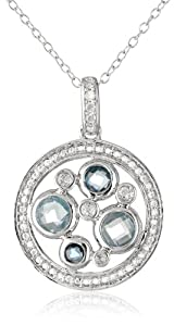 """Sterling Silver, Diamond, Blue Topaz, Swiss Blue Topaz, and London Blue Topaz Pendant Necklace with Chain, (.05 Cttw, G-H Color, I2-I3 Clarity), 18"""""""