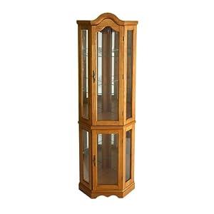 Southern Enterprises Lighted Corner Display Cabinet, Golden Oak