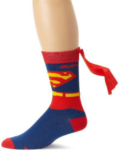 DC Comics Men's Superman Costume Crew Sock With Cape