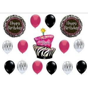 Zebra Stripe Cake Birthday Party Balloons Decorations Supplies
