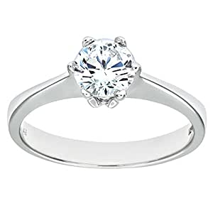 Citerna 9ct White Gold Stone Set Solitaire Ring Size H