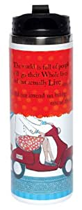 Santa Barbara Design Studio Curly Girl Design, 12-Ounce Double-wall Stainless Steel Travel Mug, The World Is Full Of People